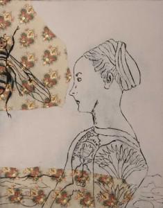 """Jutta Nase: """"o.T."""", 2011, Radierung/Mischtechnik auf Büttenpapier, 39 x 27 cm (Blattgröße)"""