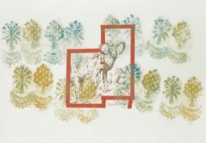 """""""Alpensteinbock"""", 70 x 100 cm, Mischtechnik auf Zeichenkarton, 1994"""