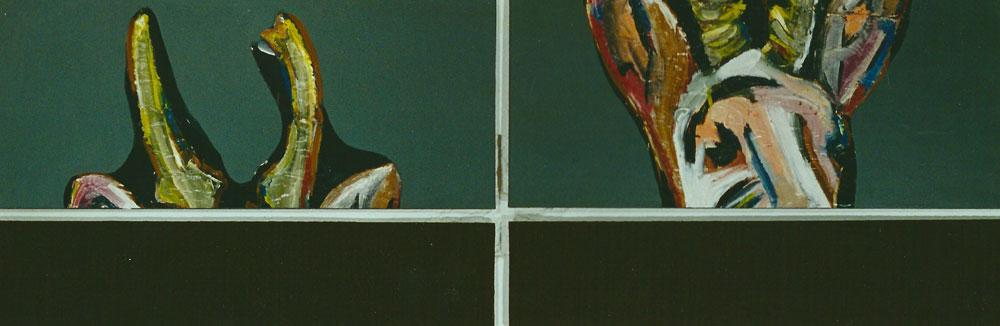"""Bock"", 90 x 300 cm, Mischtechnik auf Nessel, 1994"