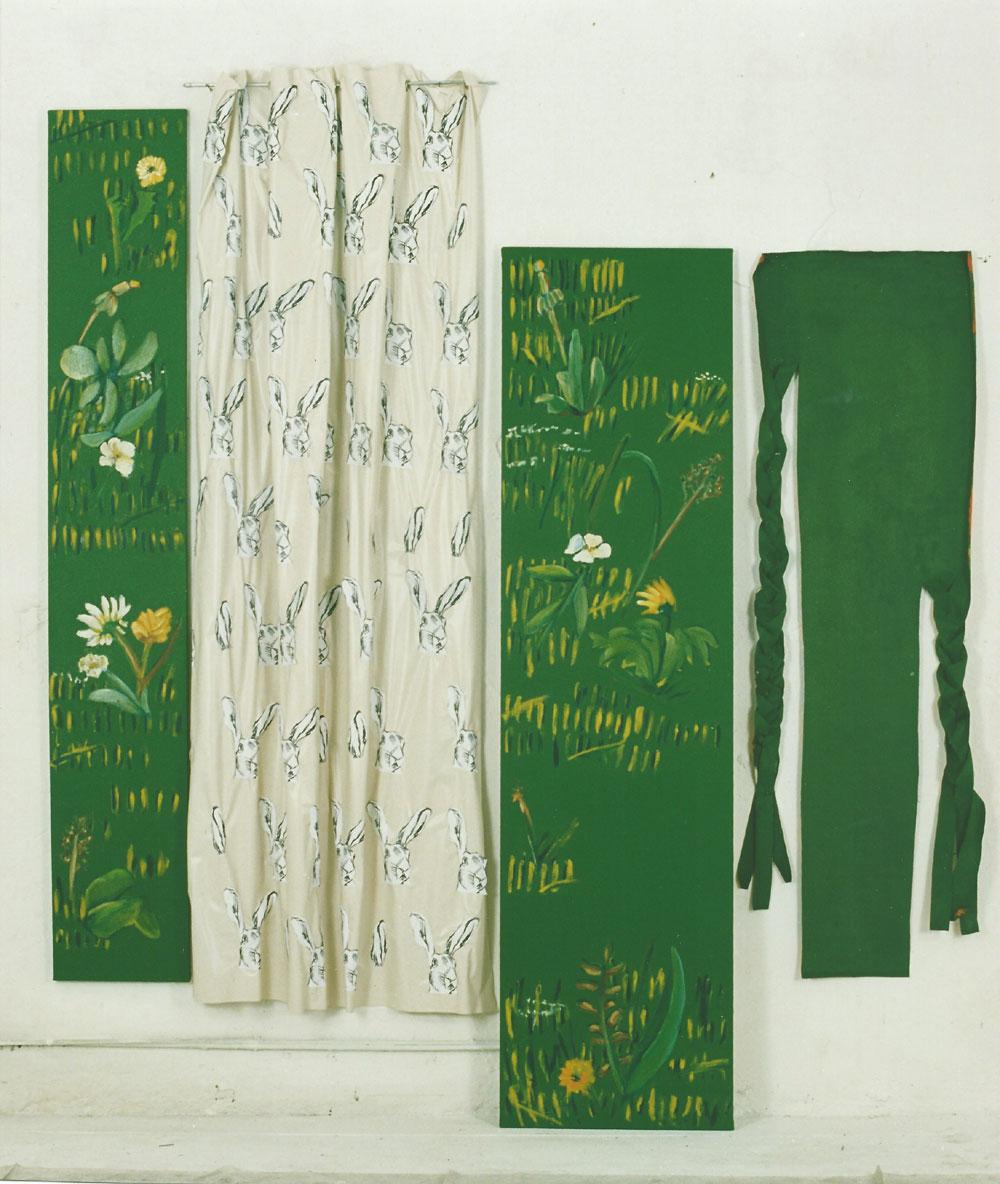 """""""Drei Stück Wiese"""", Installation gesamt 210 x 240 cm, Mischtechnik, 1994"""