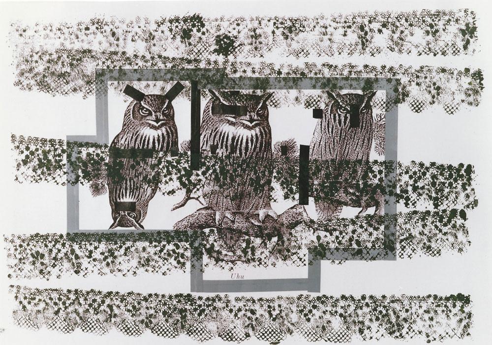 """""""nicht sehen, nicht hören, nicht fühlen"""", 70 x 100 cm, Mischtechnik auf Zeichenkarton, 1994"""