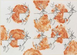 """""""Platzhirsch"""", 88 x 124 cm, Mischtechnik auf Zeichenkarton, 1994"""