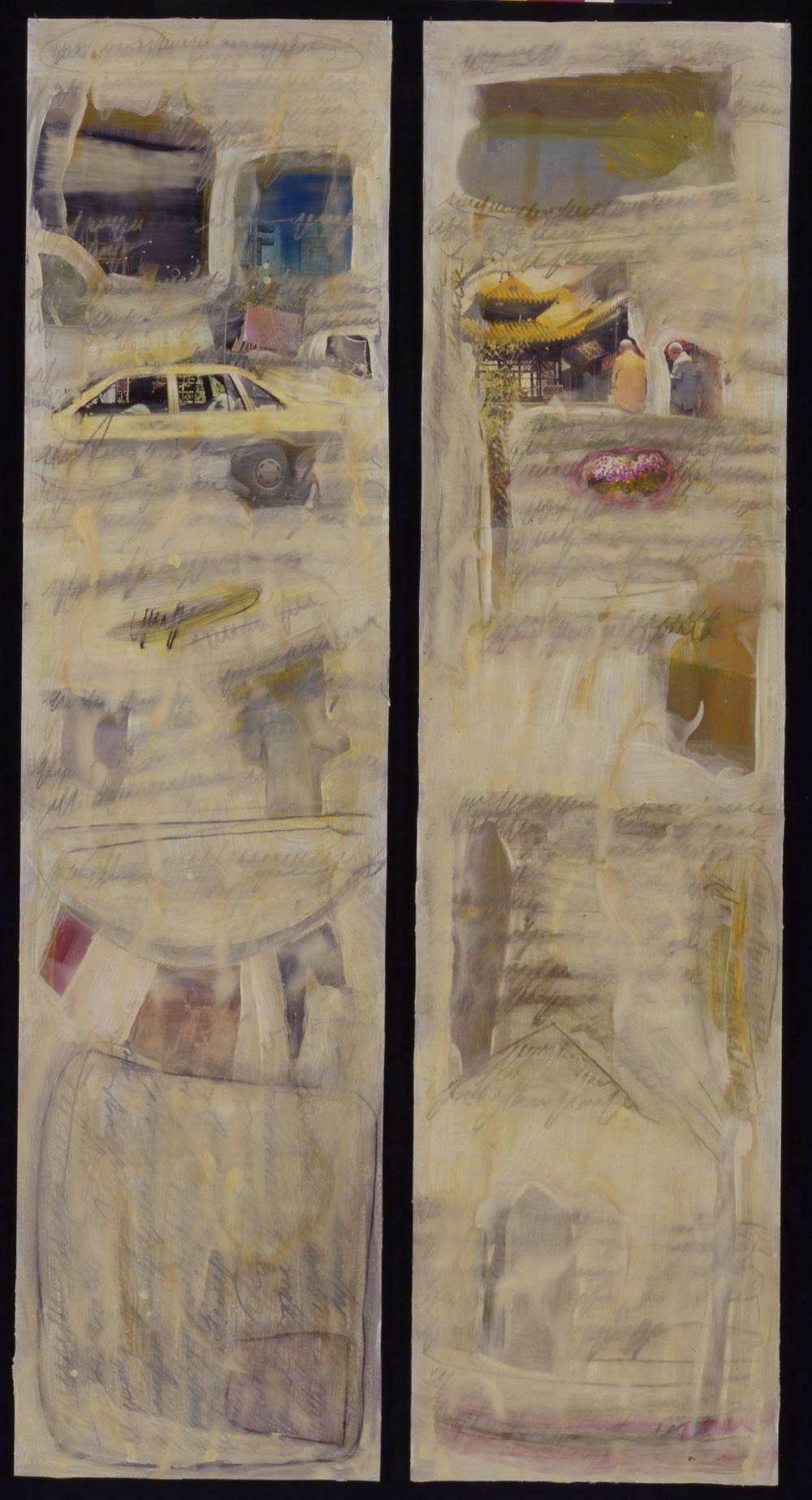 "Links: ""Am Morgen des dritten Tages""; rechts: ""See über dem Berg"", je 200 x 50 cm, Mischtechnik auf Aquarellkarton, 2000"