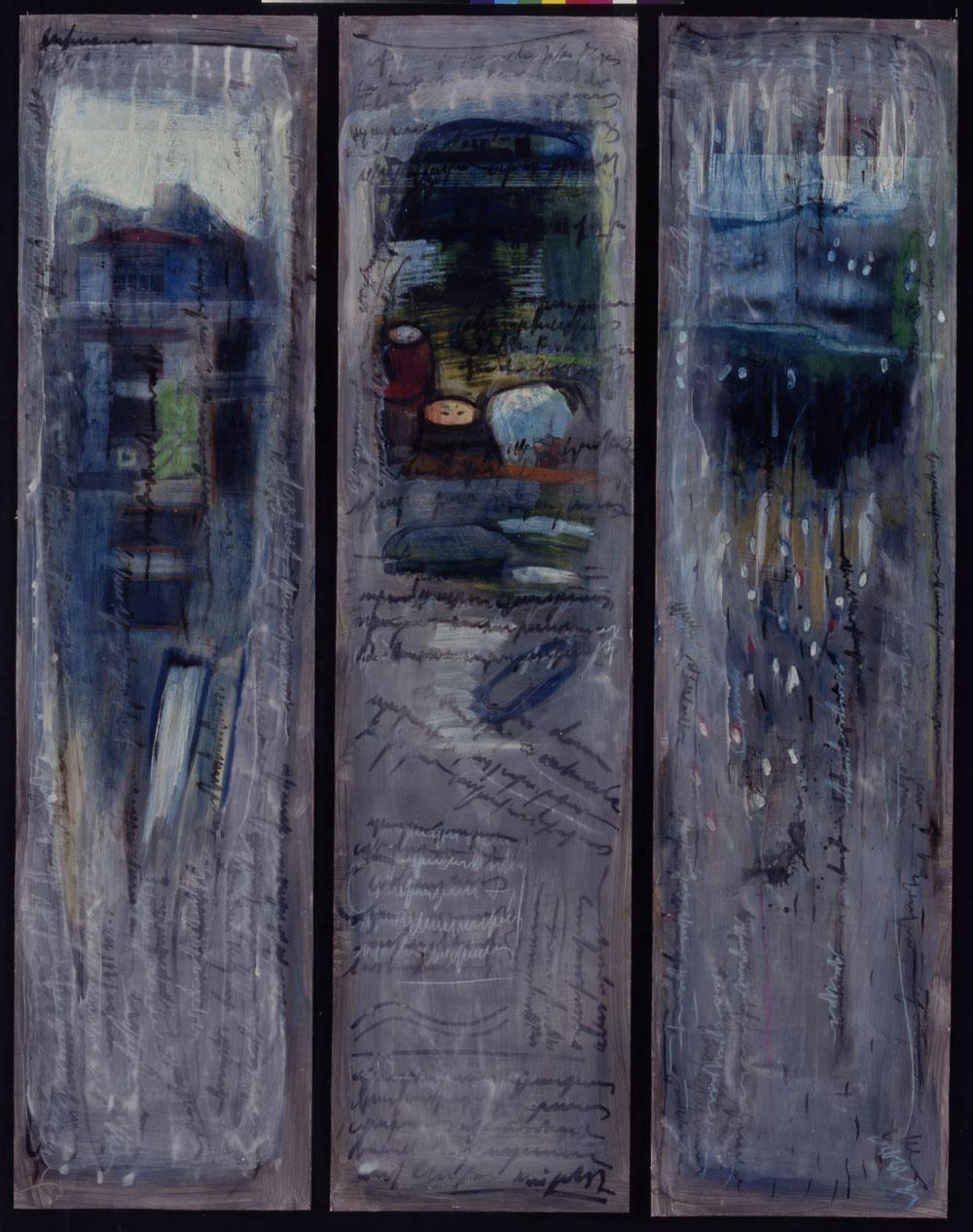 """""""Regenzeit"""", von links: """"Das blaue Haus"""", """"Unter dem Fluss"""", """"Regenzeit"""", je 200 x 50 cm, Mischtechnik auf Aquarellkarton, 2000"""