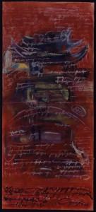 """Roter Tempel"", 230 x 100 cm, Mischtechnik auf Aquarellkarton, 2000"
