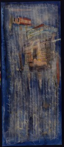 """""""An einem Tag außerhalb aller Erfahrung"""", 230 x 100 cm, Mischtechnik auf Aquarellkarton, 1999"""