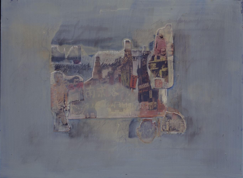 """Jutta Nase, """"China himmelblau"""", 30 x 40 cm, Mischtechnik auf Hartfaserplatte, 2000"""