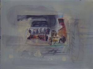 """""""China himmelblau"""", 30 x 40 cm, Mischtechnik auf Hartfaserplatte, 2000"""