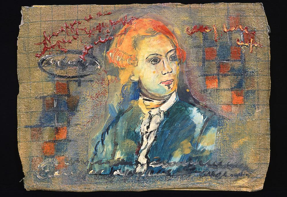 """""""Mann mit orangenen Haaren"""", 40 x 70 cm, Acryl/Mischtechnik auf Jute und Nessel, 2003"""