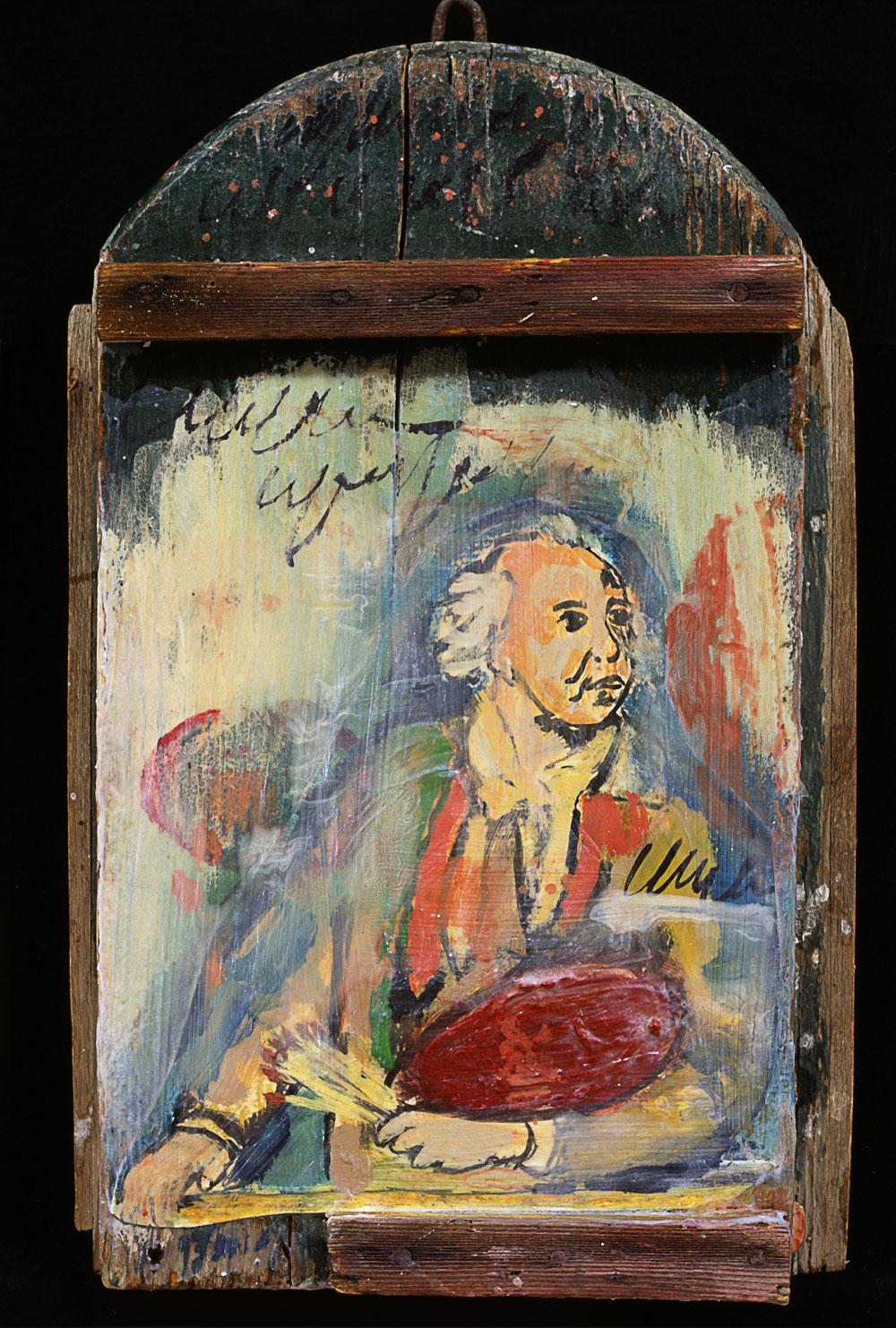 """""""Der Maler"""", 30 x 20 cm, Acryl/Mischtechnik auf Holz, 2003"""