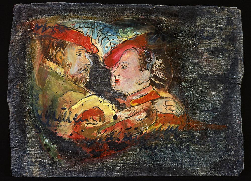 """""""Liebe"""", 40 x 70 cm, Acryl/Mischtechnik auf Nessel und Hartfaserplatte, 2003"""
