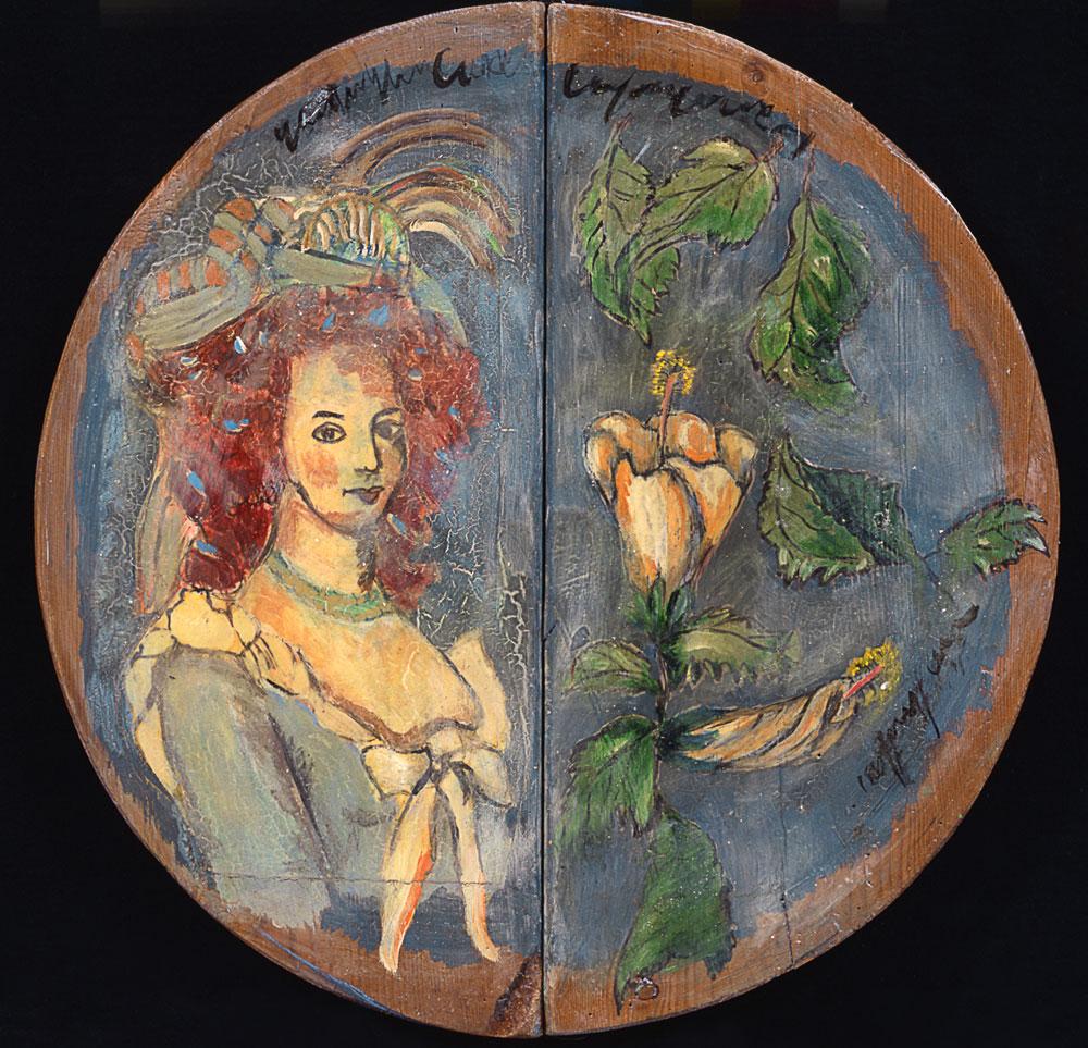 """""""Antoinette mit Rose"""", Durchmesser 48 cm, Acryl/Mischtechnik auf Holzdeckel, 2004"""