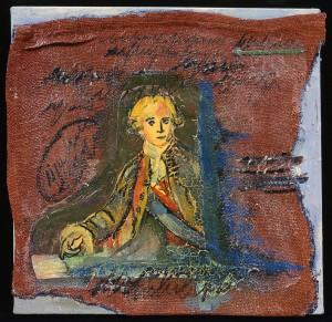 """""""Mann mit blauer Schärpe"""", 40 x 40 cm, Acryl/Mischtechnik auf Jute und Nessel, 2003"""