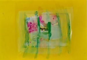 """""""Gelbe Serie"""" (1), 30 x 32 cm, Mischtechnik auf Buchbinderkarton, 1999"""