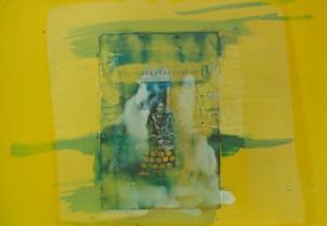 """""""Gelbe Serie"""" (2), 30 x 32 cm, Mischtechnik auf Buchbinderkarton, 1999"""