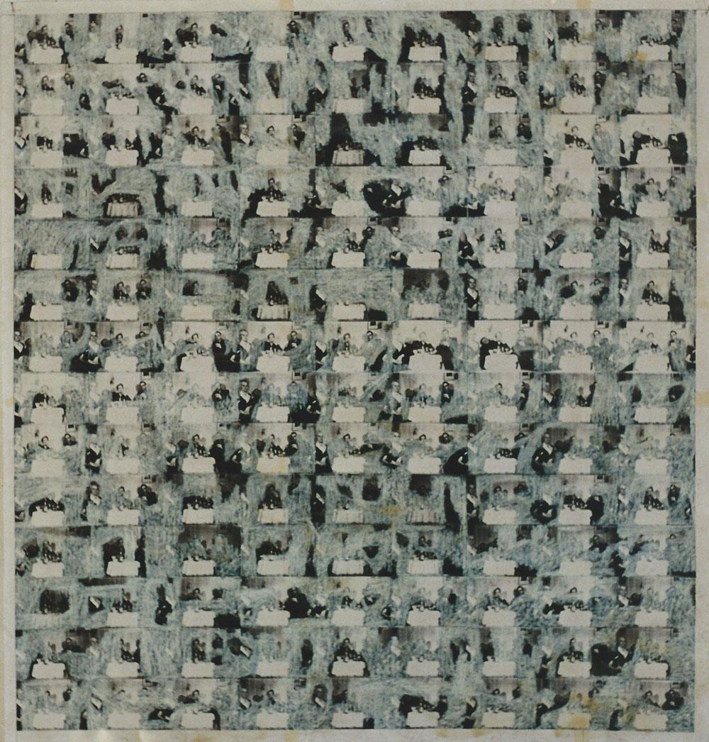 """""""Resi K. 19938/1996"""", 158 x 158 cm, Mischtechnik auf Zeichenpapier, 1996"""