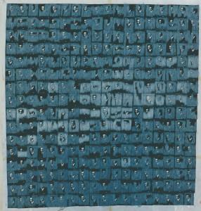 """""""Theo K. 1935/1996"""", 140 x 140 cm, Mischtechnik auf Zeichenkarton, 1996"""