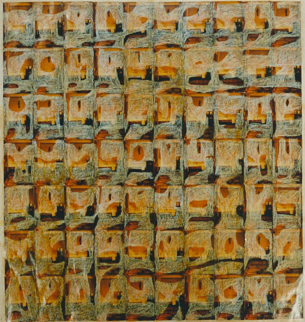 """""""Bett 1983/1996"""", 175 x 168 cm, Mischtechnik auf Zeichenpapier, 1996"""