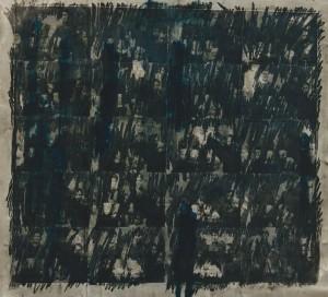 """""""Blaue Flecken 1909/1997"""", 180 x 180 cm, Mischtechnik auf Zeichenkarton"""