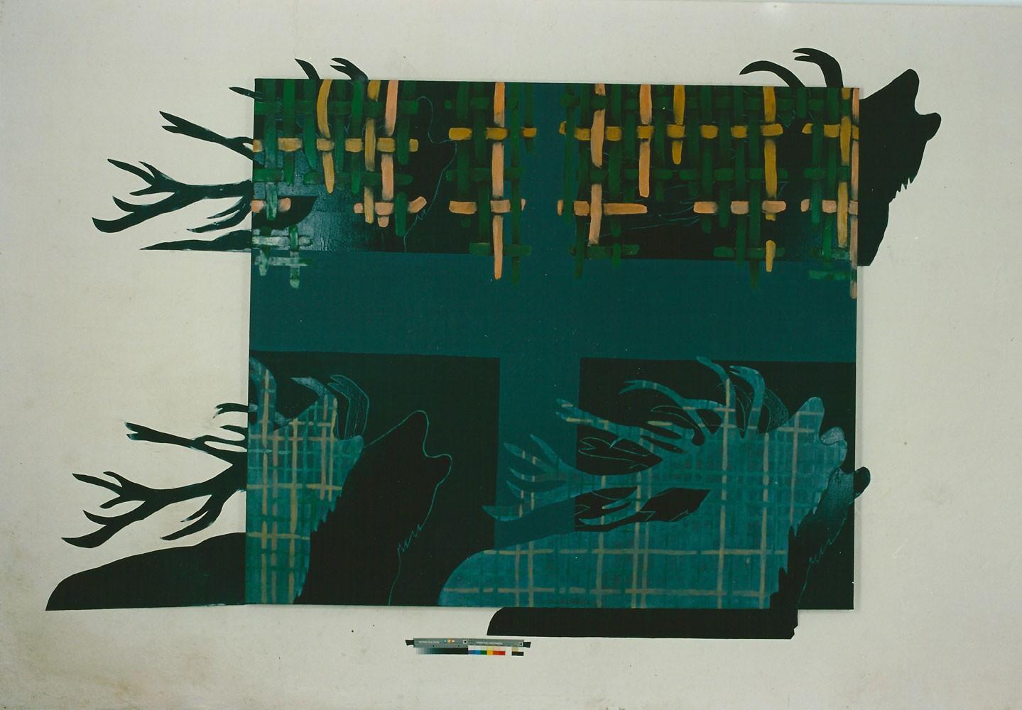"""""""Vorüberziehende Erscheinung"""", 190 x 220 cm, Mischtechnik auf Nessel, 1994"""