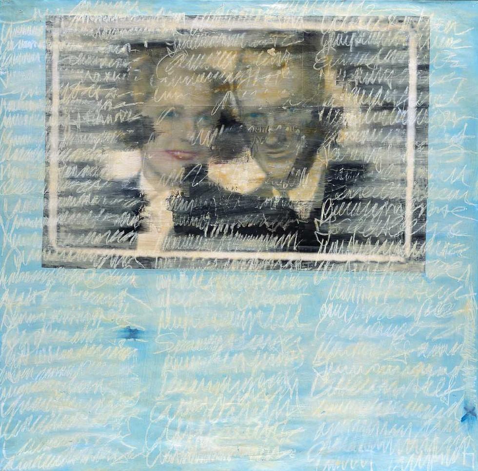 """Jutta Nase: """"Brief 1939/1996"""", Mischtechnik auf Zeichenkarton, 151 x 152 cm"""