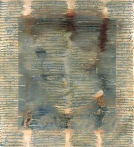 """Jutta Nase: """"Brief 1934/1997"""", Mischtechnik auf Zeichenkarton, 163 x 150 cm"""