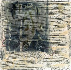 """Jutta Nase: """"Brief 1955/1998"""", Mischtechnik auf Zeichenkarton, 149 x 150 cm"""