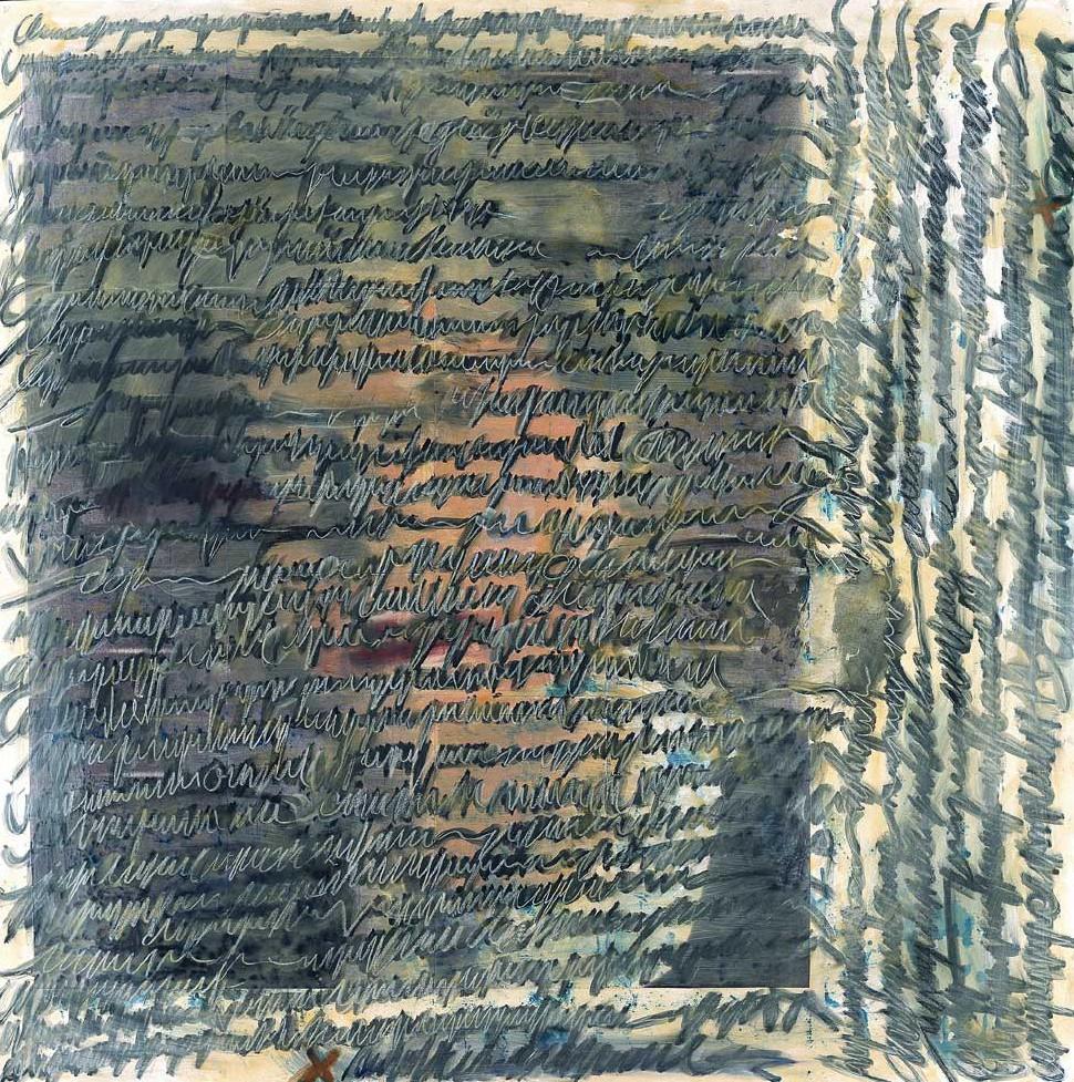 """Jutta Nase: """"Brief 1935/1997"""", Mischtechnik auf Zeichenkarton, 151 x 152 cm"""