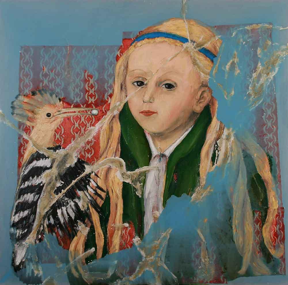 """Jutta Nase: """"Das Geschenk"""", 2011, Öl/Mischtechnik auf Leinwand, 100 x 100 cm"""
