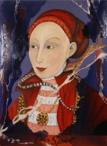 """Jutta Nase: """"Das Spiel"""", 2012, Öl/Mischtechnik auf Leinwand, 150 x 110 cm"""