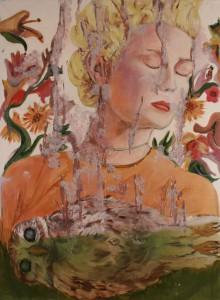 """Jutta Nase: """"Eulenschlaf"""", 2010, Öl/Mischtechnik auf Leinwand, 150 x 110 cm"""