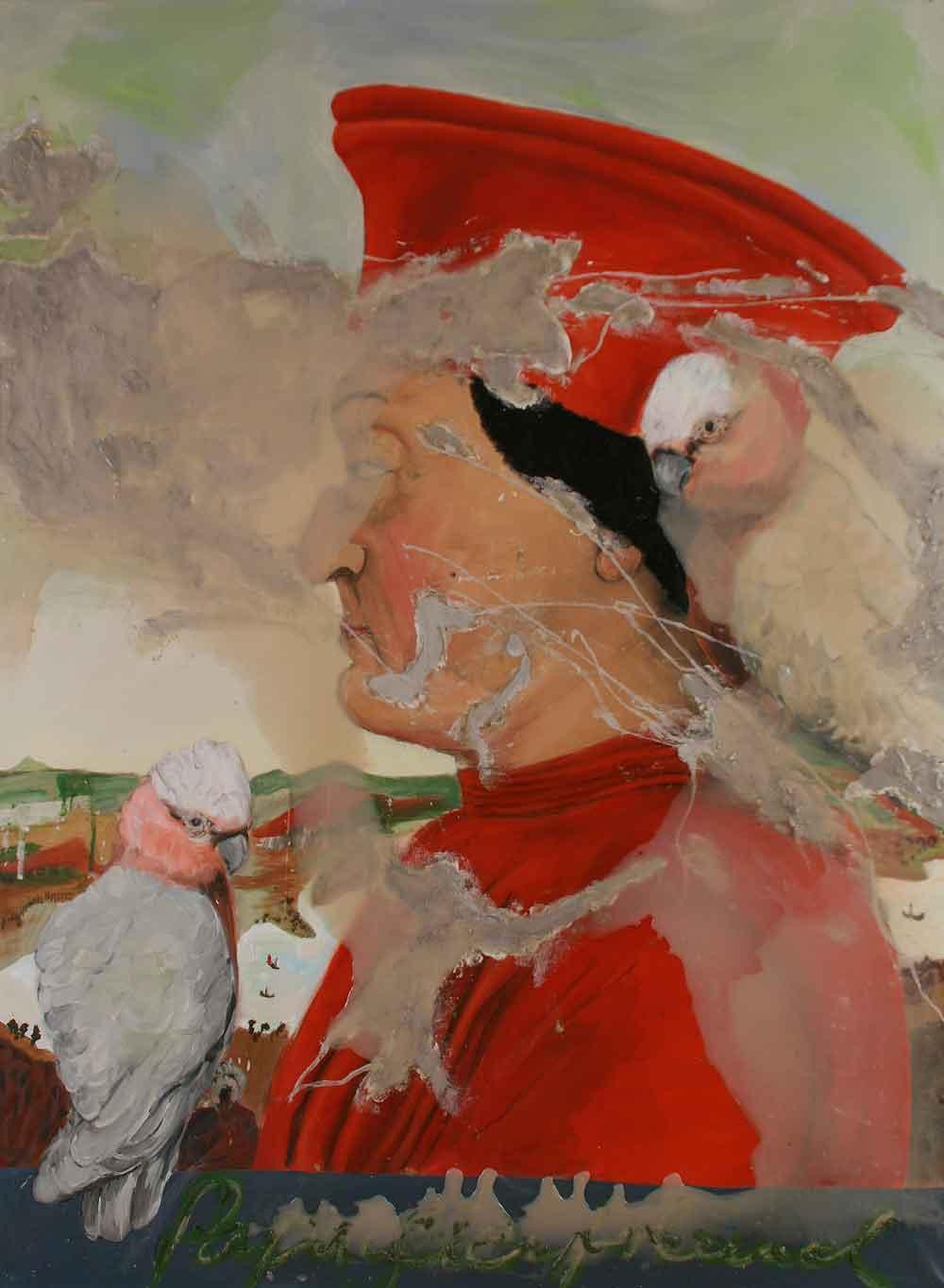 """Jutta Nase: """"Papageienfreund"""", 2010, Öl/Mischtechnik auf Leinwand, 150 x 110 cm"""
