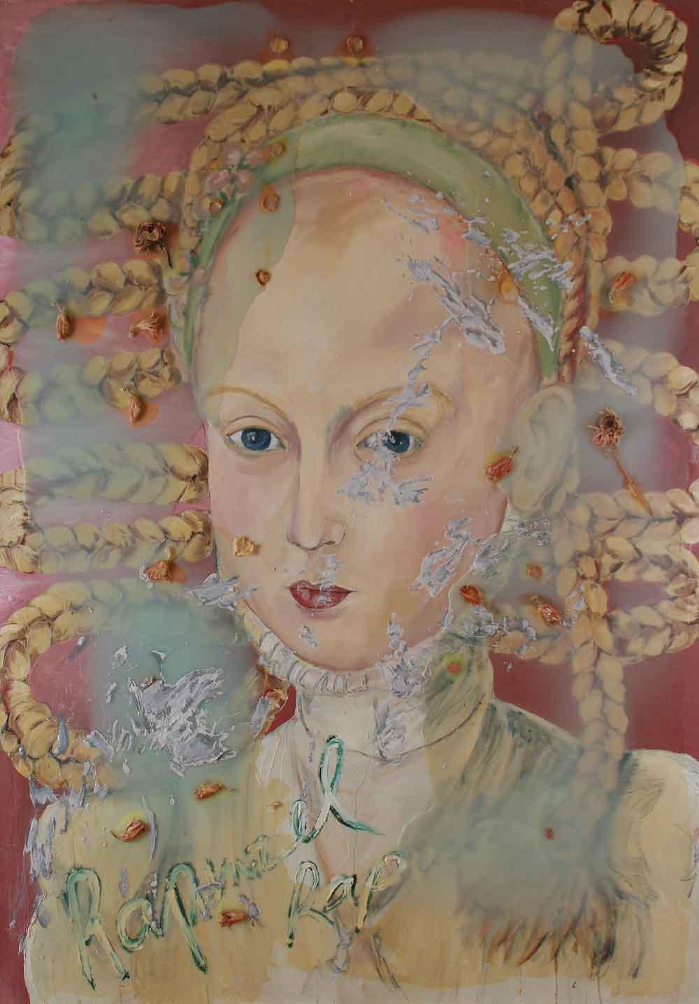 "Jutta Nase: ""Rapunzel"", 2010, Öl/Mischtechnik auf Leinwand, 190 x 130 cm"