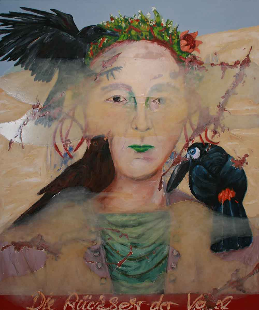 "Jutta Nase: ""Rückkehr der Vögel"", 2010, Öl/Mischtechnik auf Leinwand, 180 x 150 cm"