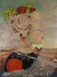"""Jutta Nase: """"Schneckenfrau"""", 2010, Öl/Mischtechnik auf Leinwand, 150 x 110 cm"""