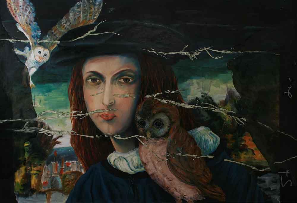 "Jutta Nase: ""Secret Secrets"", 2011, Öl/Mischtechnik auf Leinwand, 130 x 190 cm"