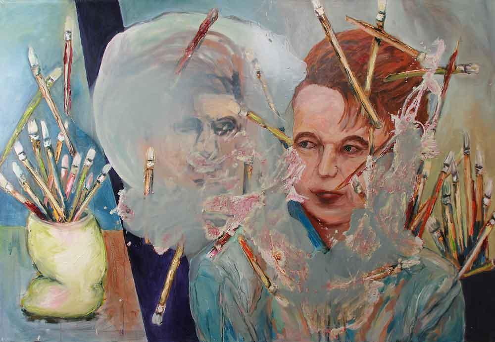 """Jutta Nase: """"Spieglein Spieglein"""", 2010, Öl/Mischtechnik auf Leinwand, 130 x 190 cm"""