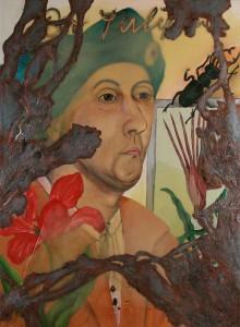 """Jutta Nase: """"Tulipan"""", 2010, Öl/Mischtechnik auf Leinwand, 150 x 110 cm"""