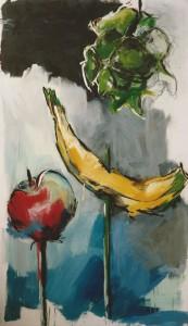 """""""Obst gespießt"""", 220 x 150 cm, Öl/Acryl/Nessel, 1992"""
