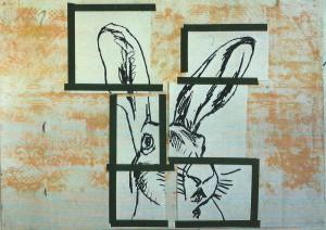 """""""o.T. (Hase)"""", 70 x 100 cm, Mischtechnik auf Zeichenkarton, 1994"""