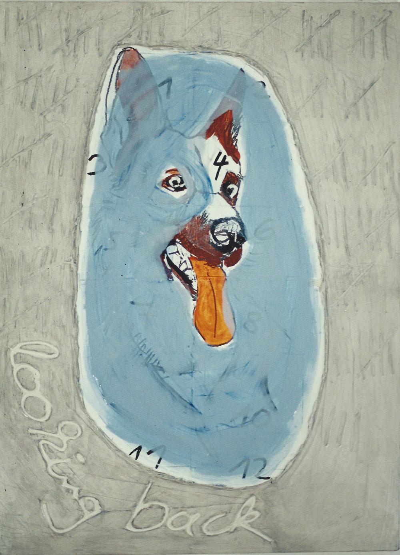 """""""looking back"""", 150 x 110 cm, Mischtechnik auf Nessel, 1995"""