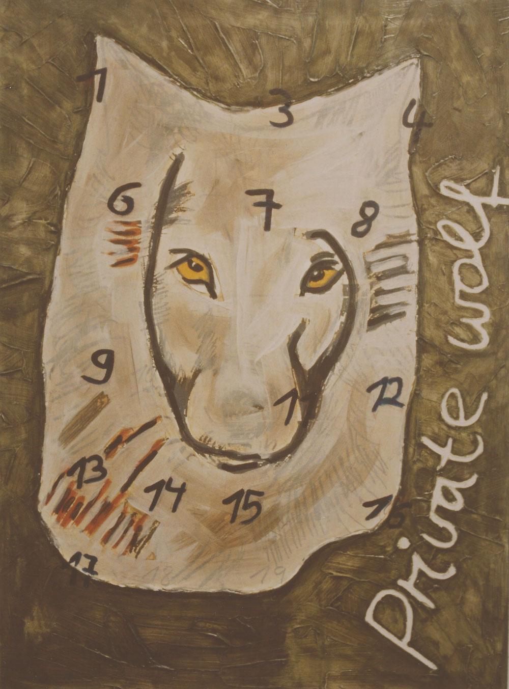 """""""private wolf"""", 150 x 110 cm, Mischtechnik auf Nessel, 1995"""
