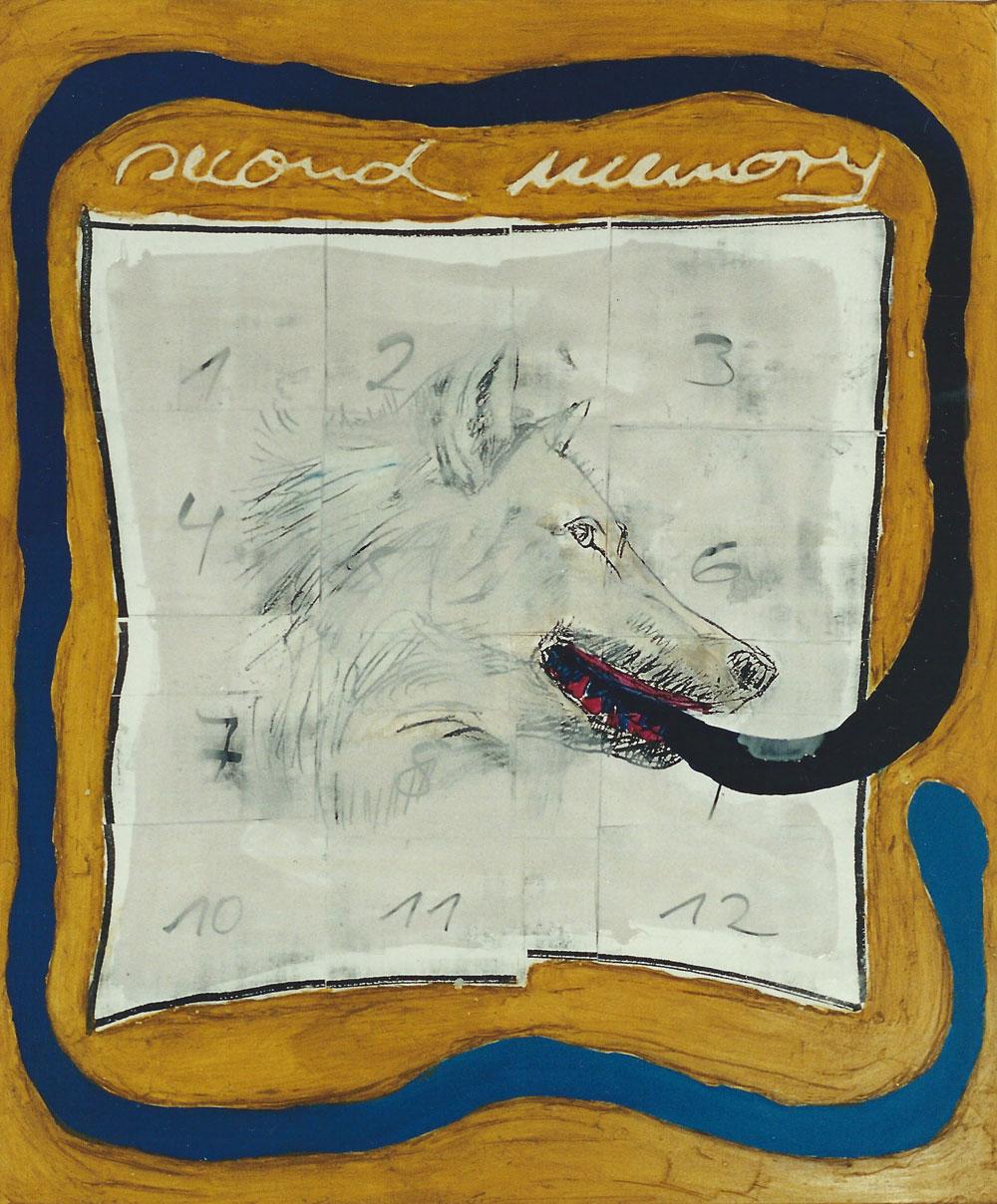 """""""second memory"""", 155 x 130 cm, Mischtechnik auf Nessel, 1995"""