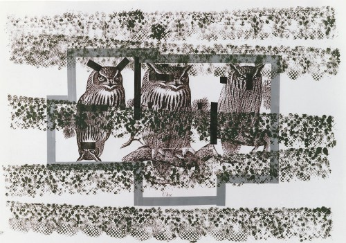 """Jutta Nase, """"nicht sehen, nicht hören, nicht fühlen"""", 70 x 100 cm, Mischtechnik auf Zeichenkarton, 1994"""
