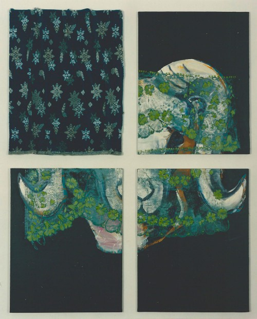 "Jutta Nase, ""Mufflon"", 187 x 147 cm, Mischtechnik auf Nessel, 1994"