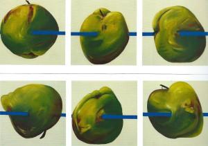 """Jutta Nase, """"Äpfel unfrei"""", 100 x 100 cm, Mischtechnik auf Nessel, 1992"""
