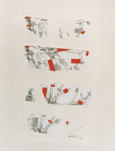 """verklebt"", 84 x 61 cm, Mischtechnik auf Tonpapier, 1994"
